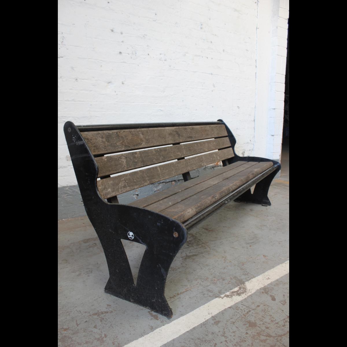 0012001 Wooden Park Bench X1 183wide 79 Height 46cm Deep Stockyard North