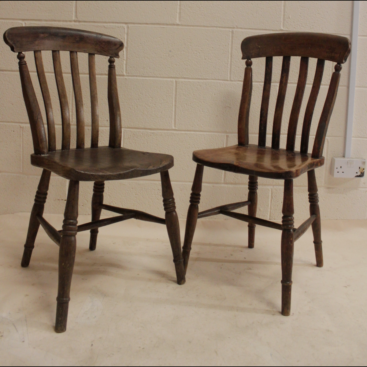 All Wood Dining Room Chairs: 0085288 All Wood Dining Chairs X2 (89cm Long By 38cm Wide