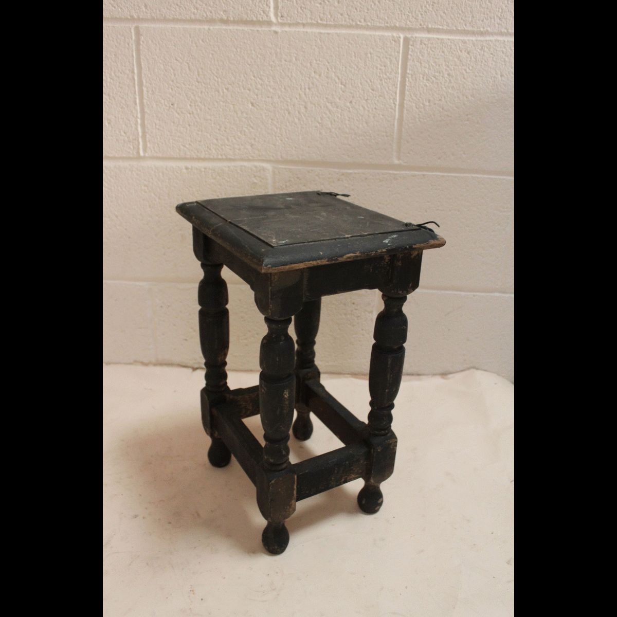 Pleasant 0078082 Small Black Wood Stool X1 29Cm Wide By 25Cm Front Andrewgaddart Wooden Chair Designs For Living Room Andrewgaddartcom