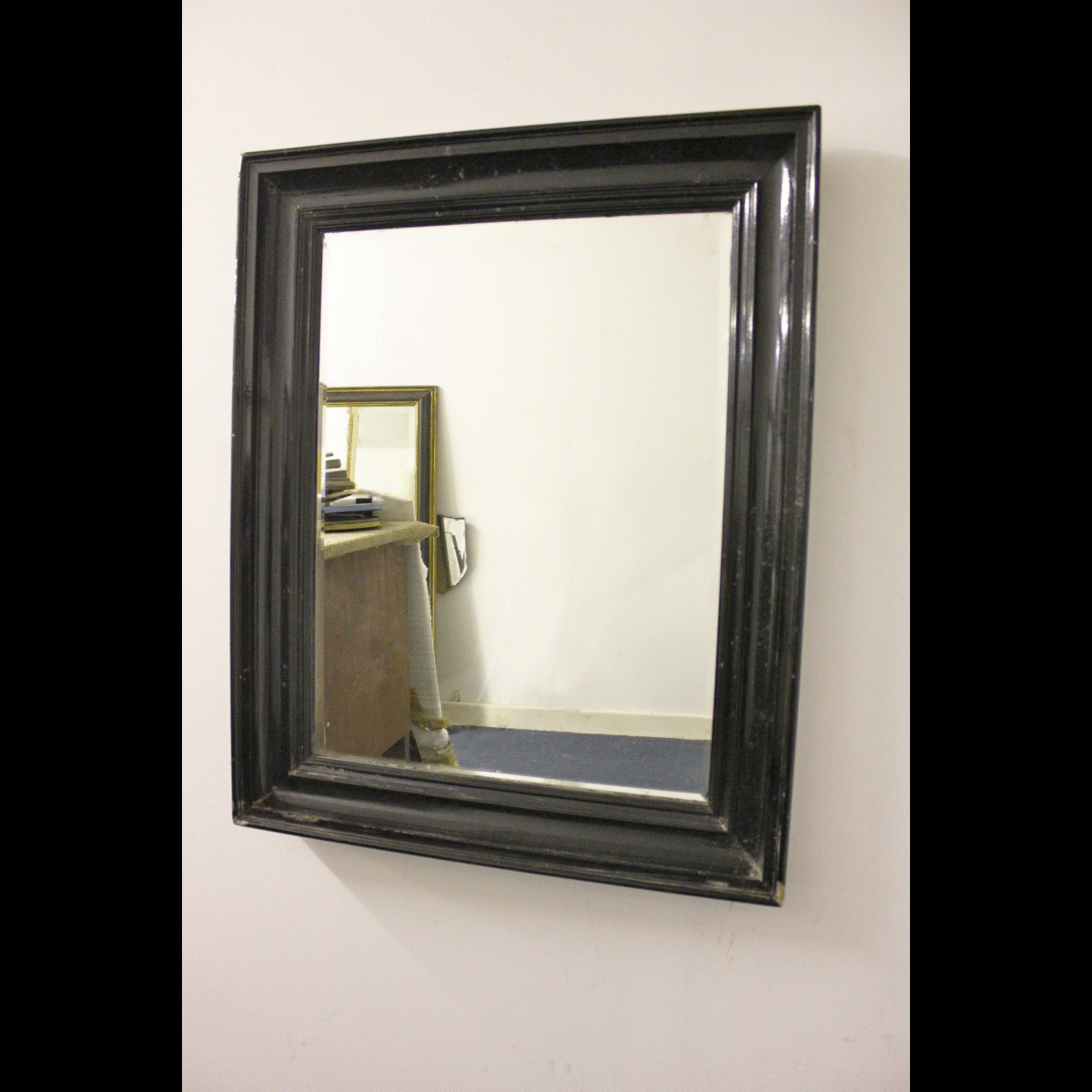 0070001 black wooden framed mirror x1 64cm wide by 74cm for Long framed mirror