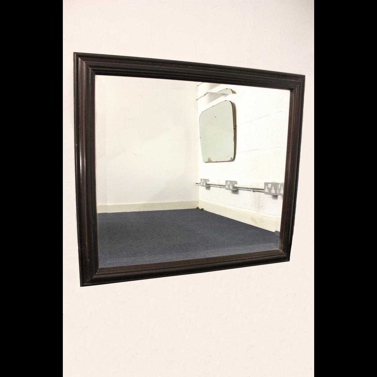 0070007 dark wooden framed mirror x1 91cm wide by 83cm for Long framed mirror