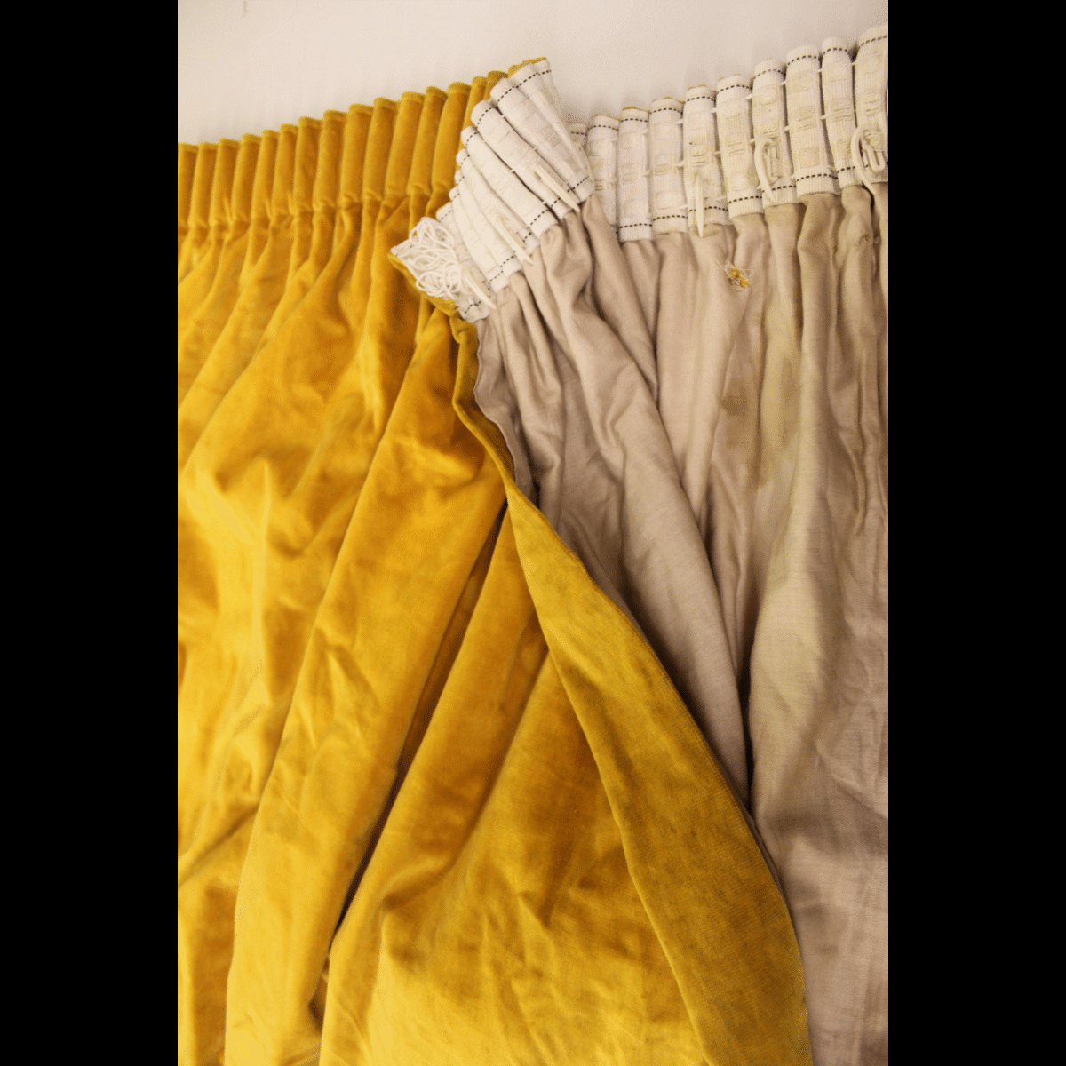 Yellow Velvet Curtains X1 Single 284cm Wide By 201cm Drop Various Sizes