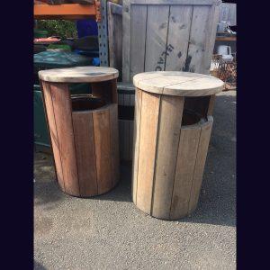 0014015 – Cylindrical Slatted Wooden Bin