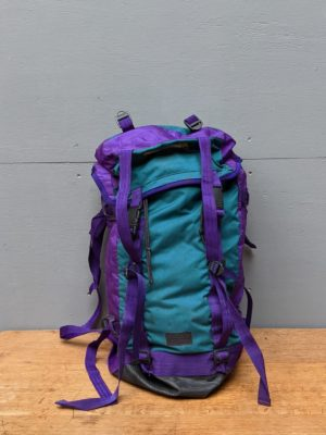 hikers backpack purple and turquoise
