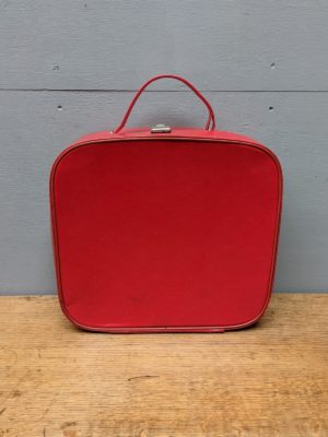 red leather vanity case small suitcase