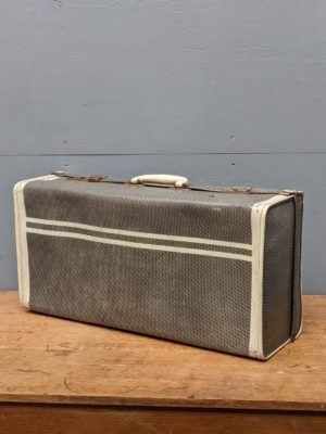 grey white suitcase