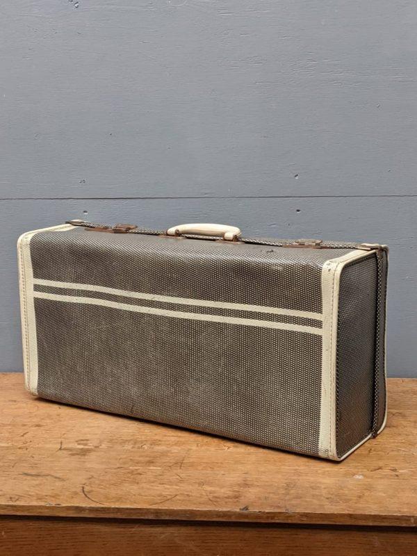 grey white suitcase