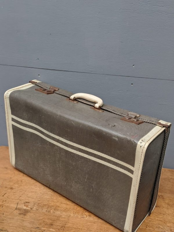 grey and white suitcase