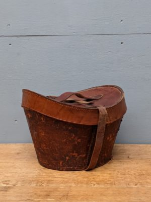 leather tan hat box